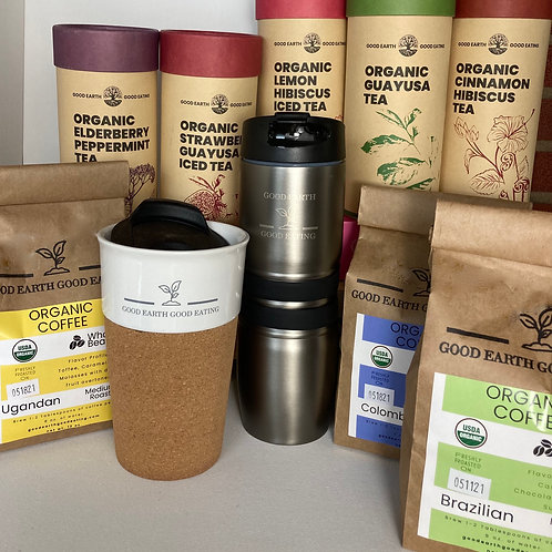 Tumbler, Cork Mug, 5 Organic Teas, 3 Organic Coffees, (5) $5 off Coupons, Gift