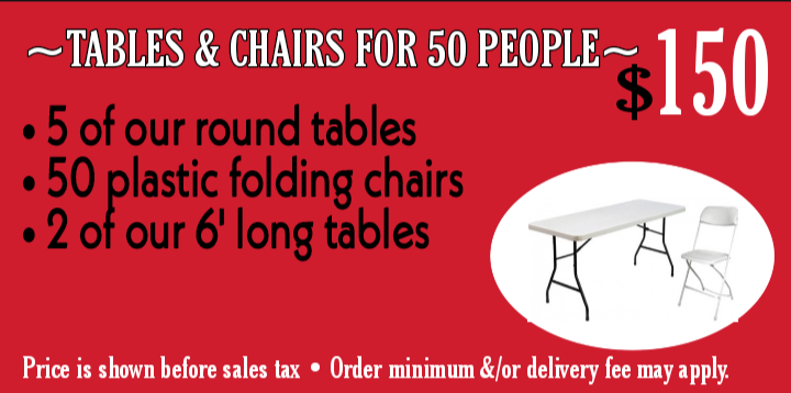 Tables & chairs for 50 ppl