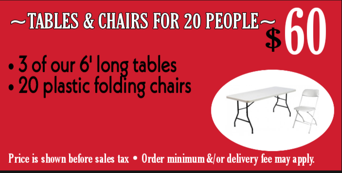 Tables & chairs for 20 ppl