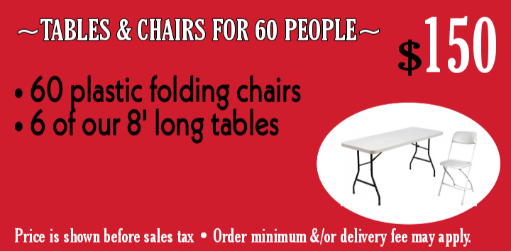Tables & Chairs for 60 ppl