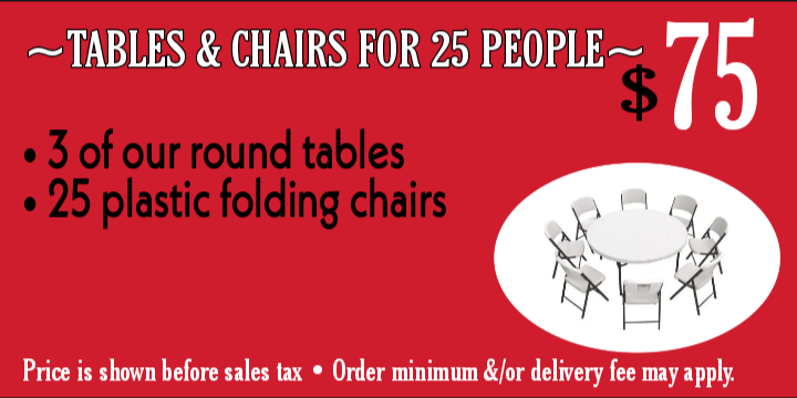 Tables & chairs for 25 ppl
