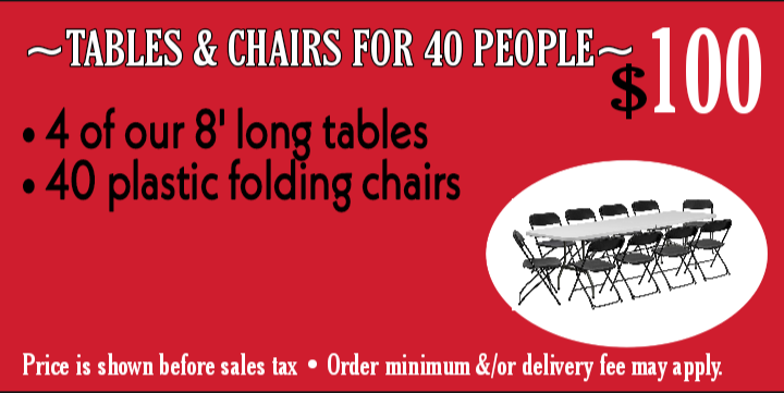 Tables & chairs for 40 ppl