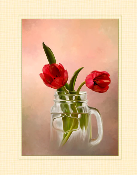 A painting of 2 red tulips in a canning jar cup with a yellow checked border.