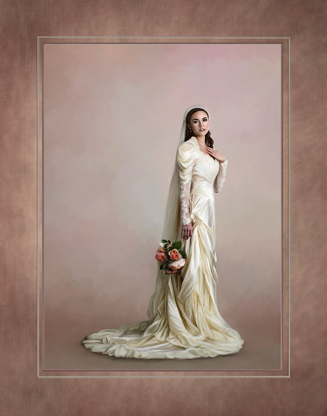 A painted image of a beautiful bride, holding a bouquet of peach colored roses. Her hand rests on her chest. Bride is in an ivory long sleeved dress that flows onto the floor around her. This is one of m 2020 competition images.