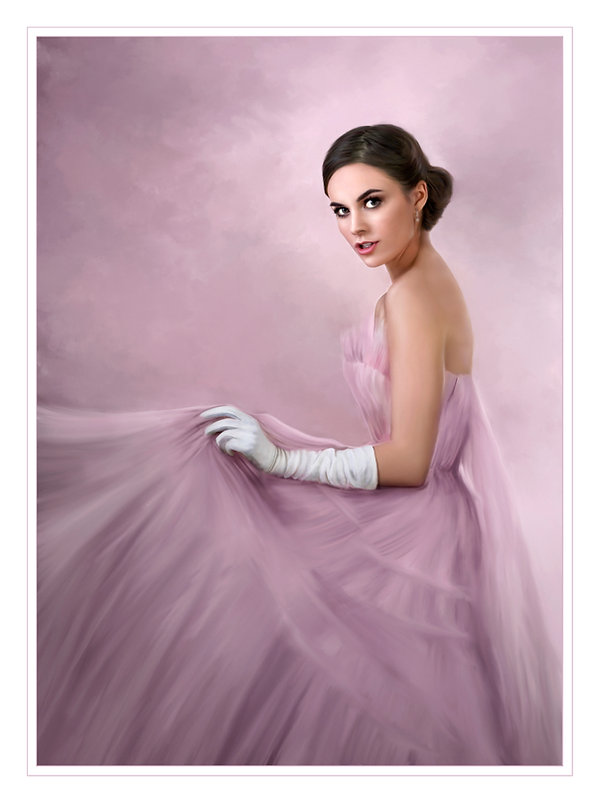 Beautiful young lady in a lavender tulle ball gown and white gloves holding the skirt of the strapless dress. She has brown hair pulled back and large beautiful brown eyes. This image was an IPC Merit Image and a Fuji Masterpiece Winner.