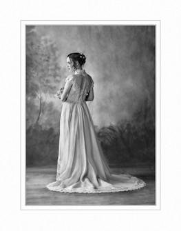 Bride in silouette, black and white