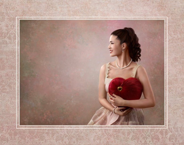 Painted image of a beautiful yooung lady in profile. She is holding a large candy box made of a velvet heart with gold accents. She has a high ponytaol, a vintage pink dress and pearl necklace and bracelet on.
