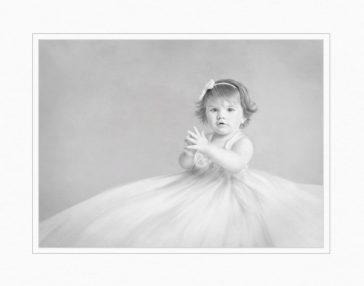 A painted fine art black and white image of a baby girl who is clapping her hands. Baby has a long full dress on that flows around her as she sits on the floor. Baby girl is about 1 year old , has short hair with a bow in it.  This is one of my 2020 competition images.