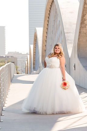 Beautiful bride, full gown, Fort Woth skyline. Fort Worth Wedding portraits