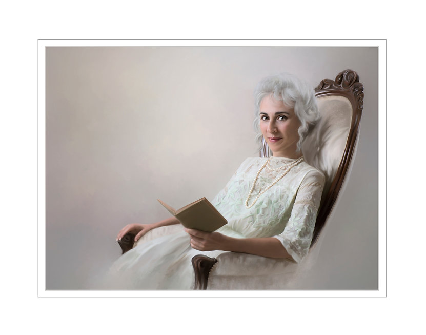 This beautiful painting is a woman in Edwardian times wearing a light green embroidered dress with three quarter sleeves. Beautiful lady is hold a book as she glances up from reading to give a slight smile. Her hair is pulled up with tendrils framing her face.