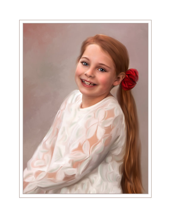 a painting of a beautigul red haired girl in a white blouse.Addy painted verticle2.jpg