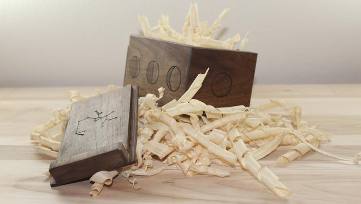Walnut Tarot Card Box with Engravings