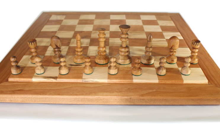 Cherry and Maple Chess Board with Cherry Pieces.