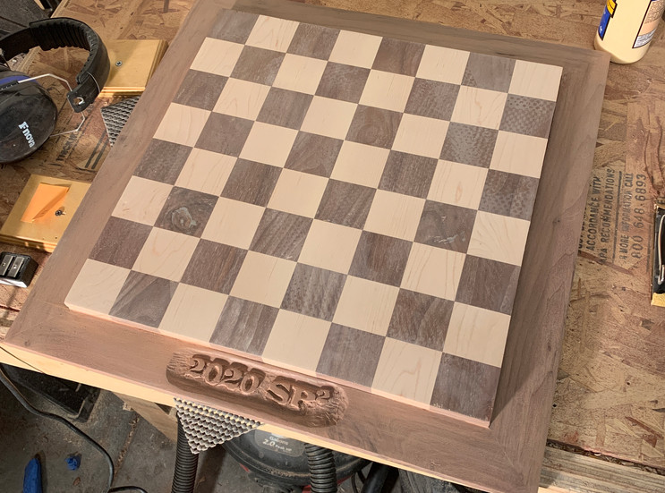 Walnut And Maple Chess Board with Personalized Name Carving