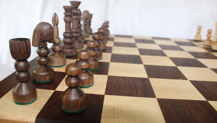 Walnut and Maple Chess Board