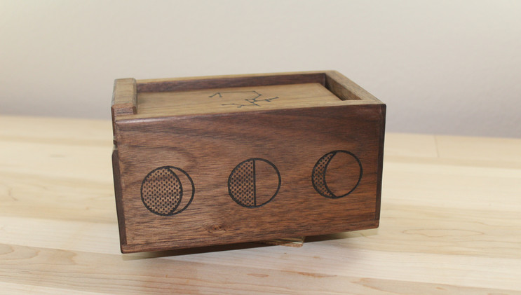 Walnut Tarot Card Box with the Phases of the Moon