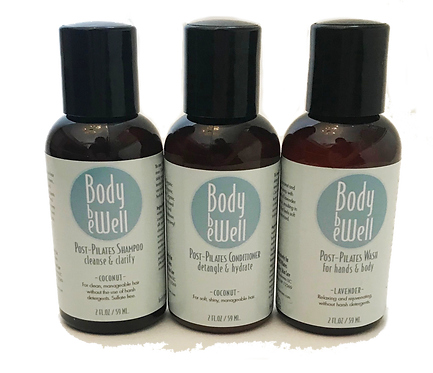 Body Be Well Post Pilates Shampoo, Conditioner & Wash Sample Set
