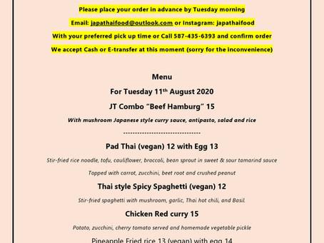 JapaThai Tuesday August 11th menu