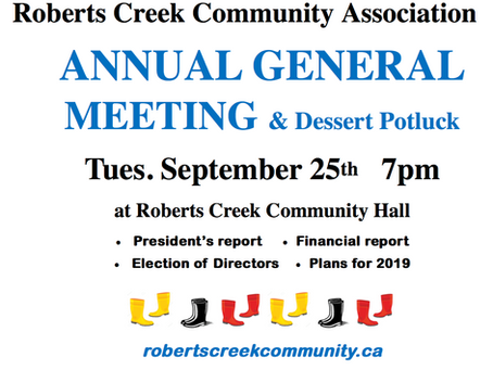 TOMMORROW - RCCA AGM & Dessert Potluck - Tuesday September 25th - 7PM