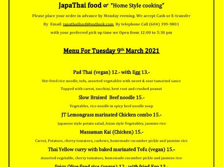 Japathai menu for Tuesday March 9th