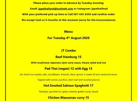 JapaThai Tuesday's menu for August 4th