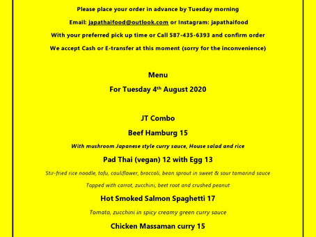JapaThai Tuesday's menu for August 4th