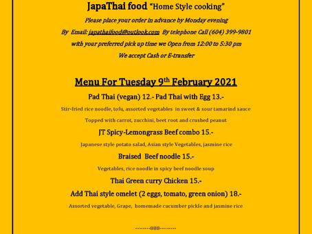 Japathai menu for Tuesday Feb 9th