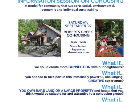SAT. SEPT. 29 - WHAT IF... YOU COULD BE PART OF CO-CREATING YOUR OWN SUSTAINABLE COMMUNITY?