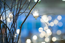 Hanging Votive detail on branch centerpieces