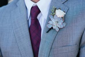 White Rose & Succulent Boutonniere