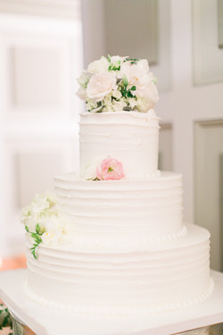 Blush pink and white cake flowers