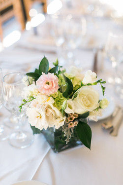 White, green and blush pink vases