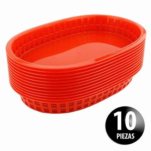 Canasta Plástica 27.5 Cm Para Comida Rápida Paquete Con 10 Piezas
