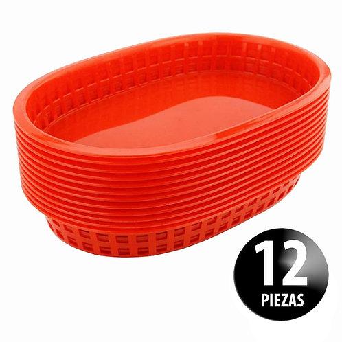 Canasta Plástica 27.5 Cm Para Comida Rápida Paquete Con 12 Piezas