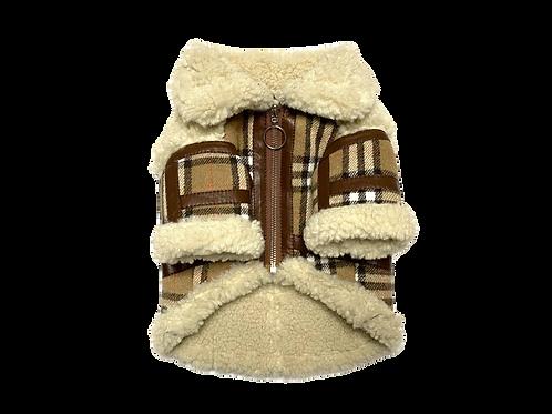 Plaid Faux Shearling Winter Coat