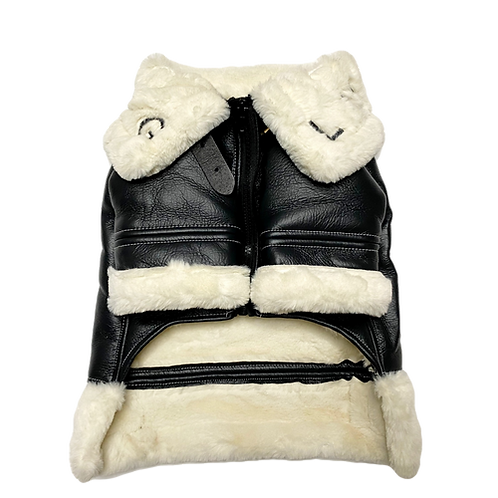 Lucky Dog Vegan Leather Coat with Faux Fur Collar