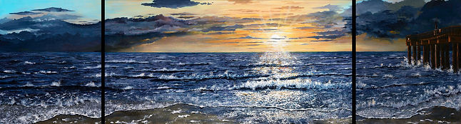 "The Pier Trypdych (three panels) 24x98"" Original Available at Chuck Harra Studio St. Augustine, Florida Giclee's available in a variety of sizes"