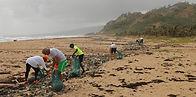 beach clean by UK school group
