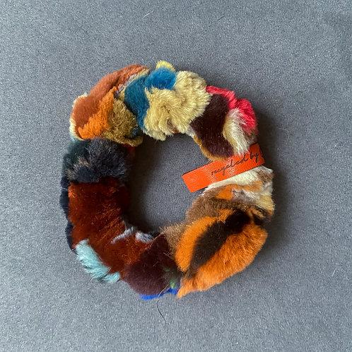 fluffy upcycled scrunchie vs. bracelet