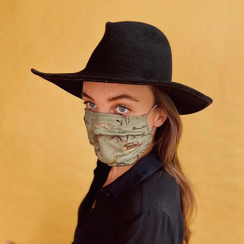 LEOPARD OLIVE mask handmade from limited designer-fabrics