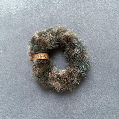 fluffy upcycled scrunchie vs. bracelet