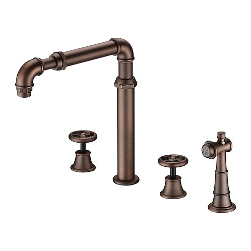 Loft Kitchen Spread Faucet with Two Handles & Spray LS17