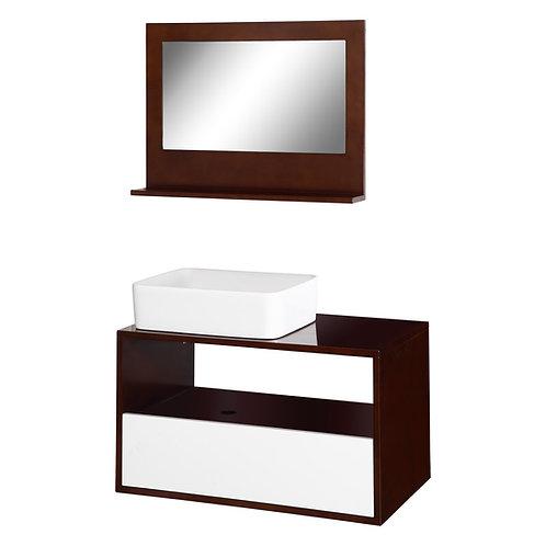 Bathroom Brown Wooden Vanities with Mirror