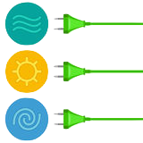energy-water-sun-wind-three-wires-plugs-