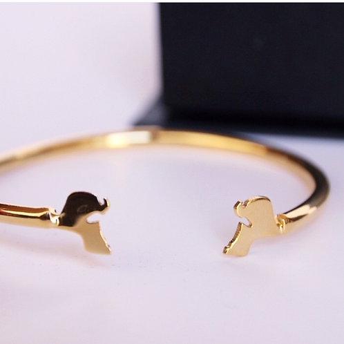 Gold & silver plated Kuwaiti map bracelet