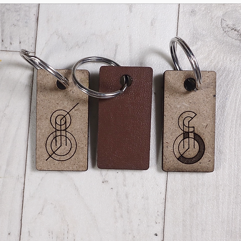 Customised wooden/faux leather engraved keychain