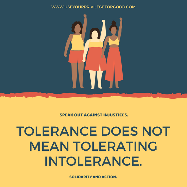 Tolerance does not mean tolerating intolerance.