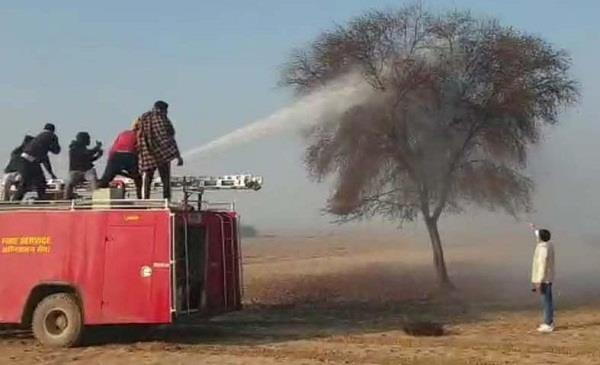 Pesticides is been sprayed from the fire brigade truck to kill the swarms.
