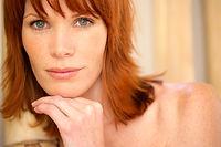 Redhead Primo piano del volto