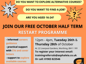 our october half term restart programme for 16-24 year-olds in west sussex